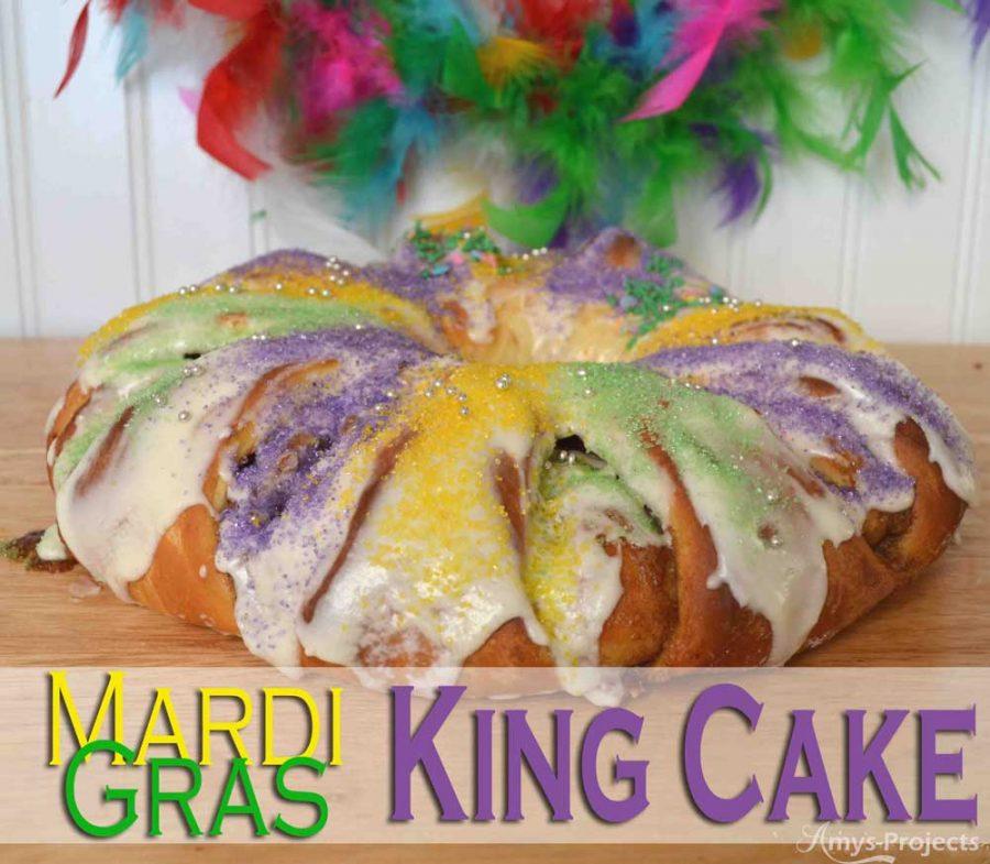 Mmmm delicious homemade King Cake to celebrate Mardi Gras.  This King Cake recipe brings the flavors of NOLA to your kitchen and party.
